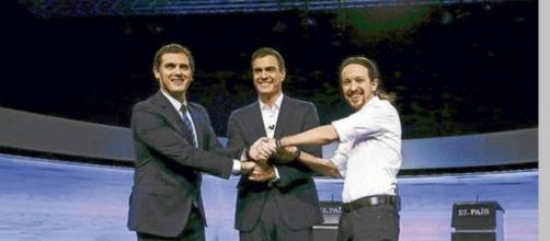 """Los tres candidatos que debatieron en """"el País""""."""