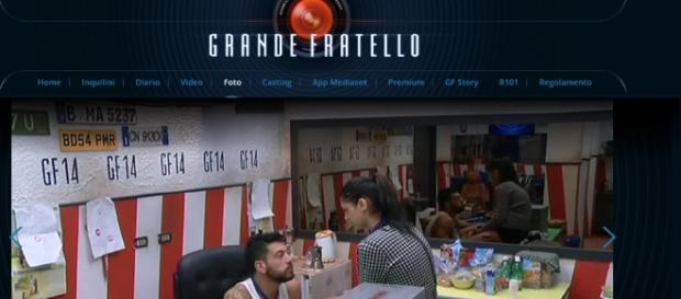 Alessandro e Federica in garage foto del GF.