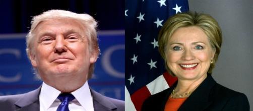 A sinistra Donald Trump, a destra Hillary Clinton