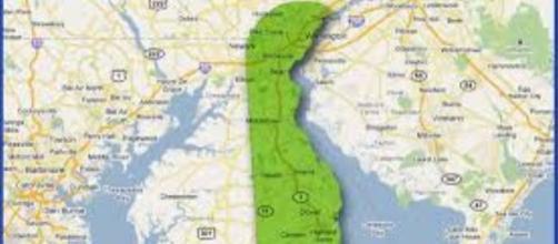 Mappa della East Coast americana col Delaware