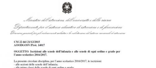 Circolare Miur iscrizioni scuola 2016/17