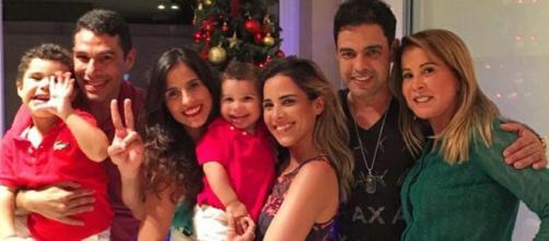 Zezé Di Camargo e Zilu durante o Natal da família