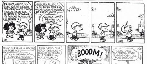 Mafalda parodiaba así la guerra nuclear EEUU-URSS.