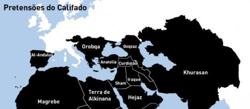 """""""Pretensões do Califado"""" - Fonte: Daily Mail"""