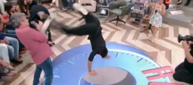 Kaká e o chute - Imagem/Reprodução: Globo