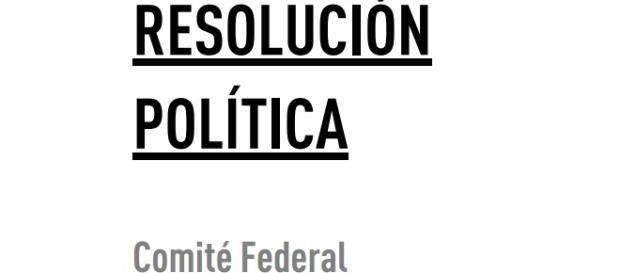 Portada de la resolución aprobada ayer por el PSOE