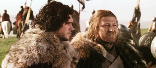 Jon Nieve y Eddard Stark en su despedida