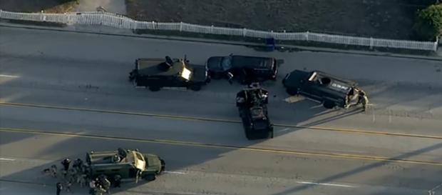 Il SUV rintracciato e l'area della sparatoria