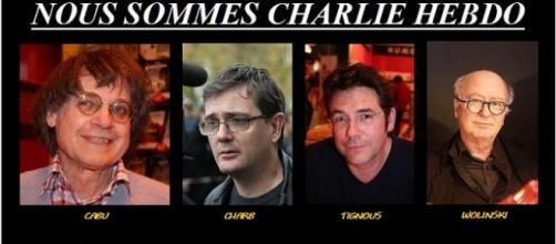 Los cuatro dibujantes de Charlie Hebdo asesinados.