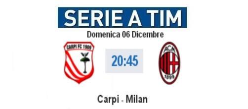 Diretta live e gol Carpi - Milan