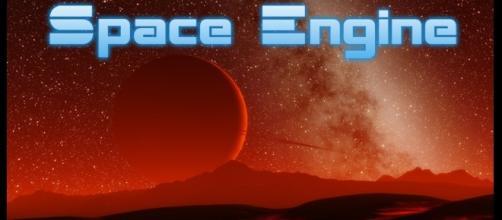 Paisaje alienígena en el simulador SpaceEngine
