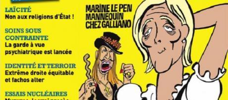 Marine Le Pen en una portada de Charlie Hebdo.