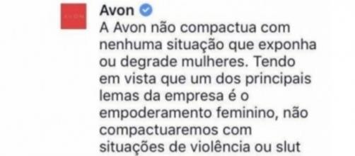 Resposta da Avon (Reprodução/rede social)