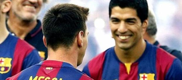 Messi y Suárez durante un momento del partido