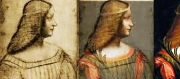 O retrato de Isabella d'Este e esboço à esquerda