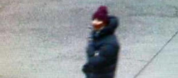 A photo of the suspect walking in Copenhagen