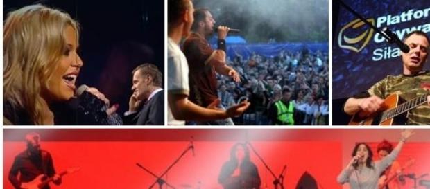 Artyści grają i śpiewają dla polityków