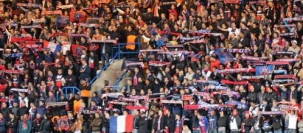 PSG fans during the match