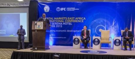 President Kagame giving a keynote address