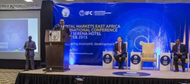 President Kagame giving a keynote address
