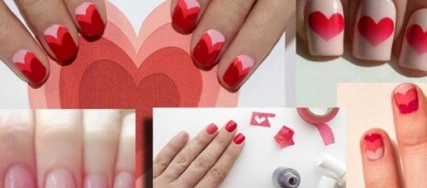 Unghie a san Valentino geometrie e qualche cuore