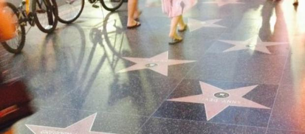 The Walk of Fame on Hollywood Boulevard