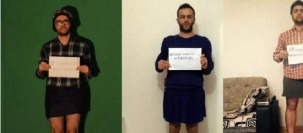 Homens usando mini-saias como forma de protesto