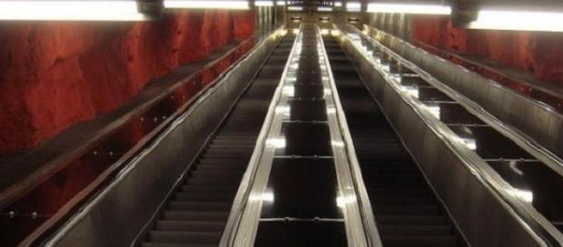 Subway escalators in Sweden can be extremely long