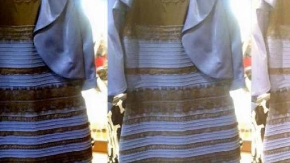 Vestido branco e dourado ou azul e preto? | Vestido preto e