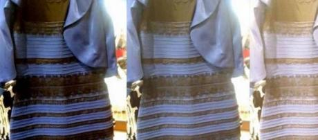 De que cor vê o vestido? Azul ou Branco?
