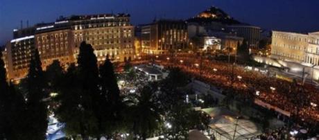 Manifestación en la plaza Syntagma en Atenas