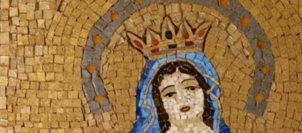 Mozaika wykonana podczas warsztatów.