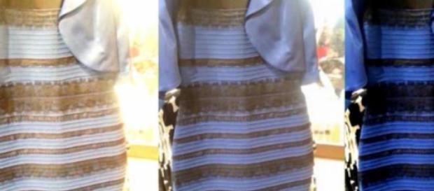 Garante a marca que o vestido é azul e preto