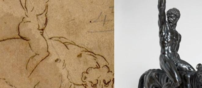 Esboço de Miguel Ângelo e estátua encontrada
