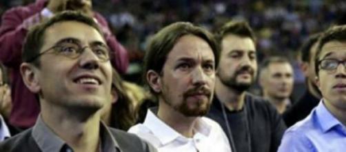 Los lideres de Podemos en un mitin