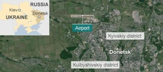 Donieck - mapka ukazująca strefę ostrzału