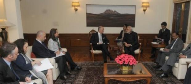 Laurent Fabius a rencontré Narendra Modi en Inde.