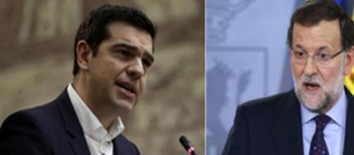 izquierda Alexis Tsipras. Derecha  Mariano Rajoy