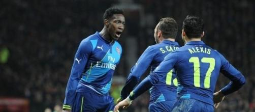 Danny Welbeck celebrates scoring the winner