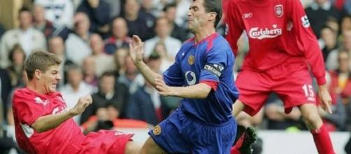 Keane during his playing days with Gerrard