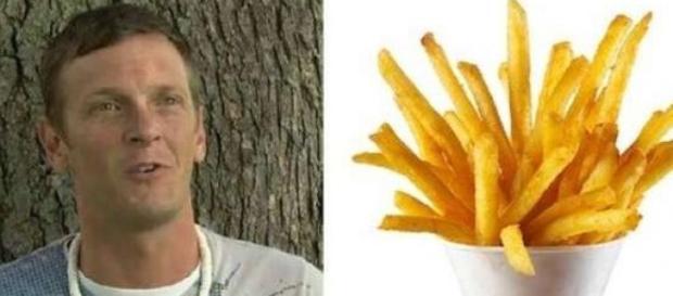 Nick Hess si ubriaca mangiando patatine fritte.