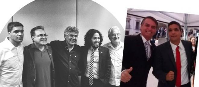 Bancada do PSOL(esq) e Bolsonaro com Daciolo(dir)