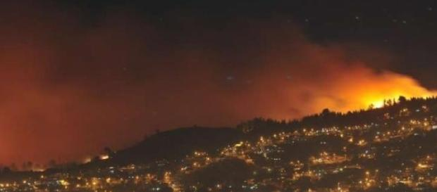 Vista de incendio en Chile