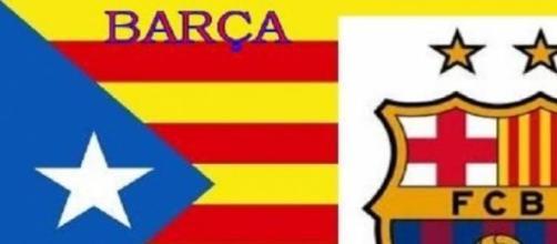 Estelada catalana con el escudo del Barça.