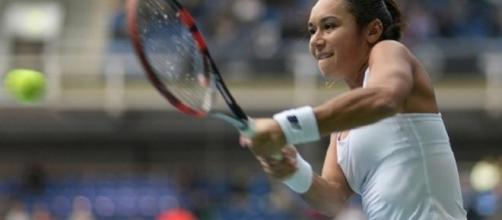 Watson defeated the number eight seed Radwanska