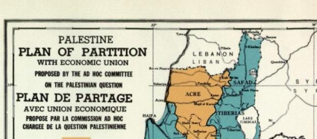 UNGA 181 map. Future government of Palestine 1947.
