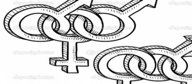 Símbolos masculinos y femeninos en ménage-à-trois