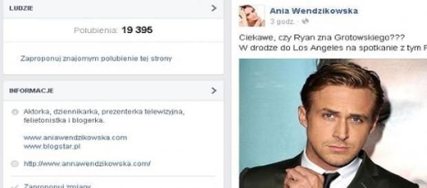Wendzikowska na Facebooku