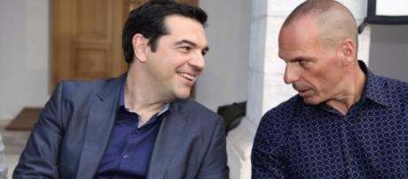 Alexis Tsipras and Yanis Varoufakis at an event.