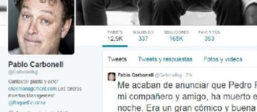 Carbonell anuncia la muerte de su amigo en Twitter